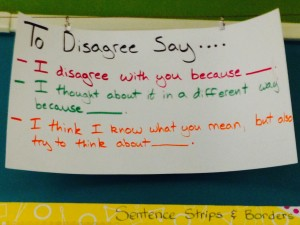 Discourse prompts-To disagree say...