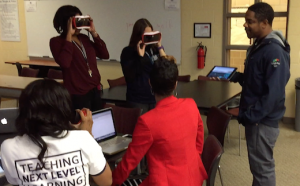 Jacob from Google helping NTA's teachers navigate through Expeditions.