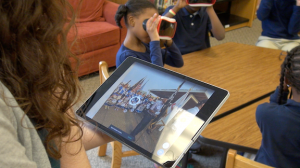 Teachers control the VR headsets with a tablet which also allows them to highlight content for students.