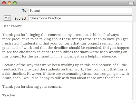 practical advice for teachers about emailing with parents