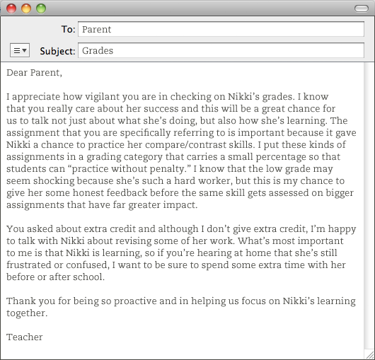 email template from teacher to parent about grades