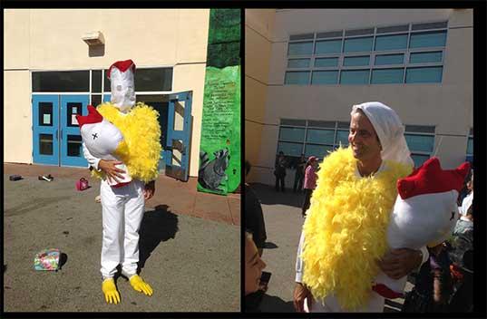 teacher in chicken costume