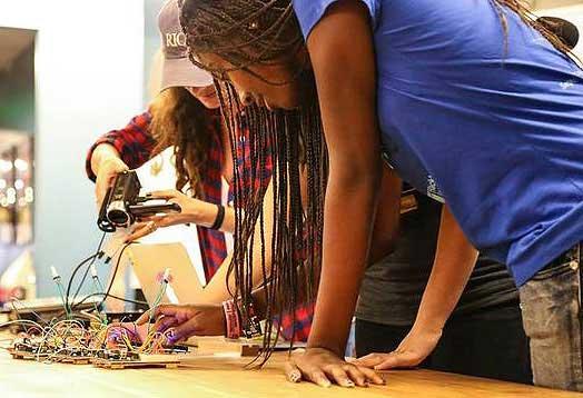 students at hackathon