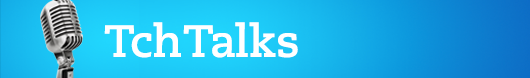 TchTalks header with microphone