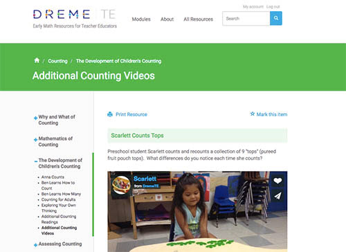 DREME early math resources screen shot