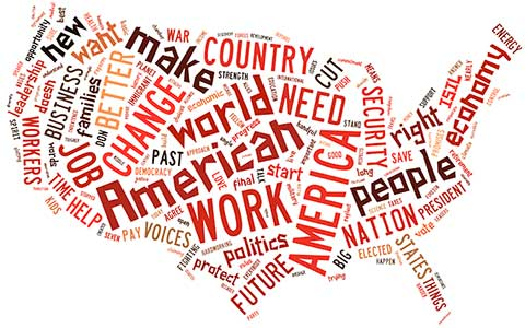 USA map word cloud