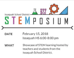 Advertisement for a school-wide STEMposium event on February 15, 2018.