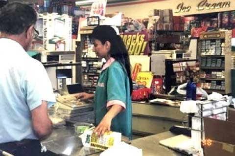 working at the cash register