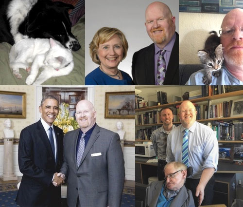 Collage of images featuring Brett's speckled dog and white cat, Secretary Hillary Rodham Clinton and Brett Bigham, Brett and his Hairy cat, President Barack Obama and Brett Bigham, Brett Bigham with his husband, Mike, and Dr. Stephen Hawking