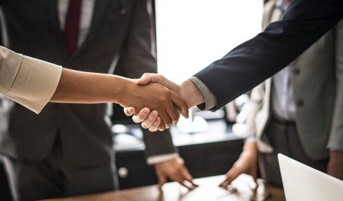 A woman and man shaking hands at the beginning of an interview